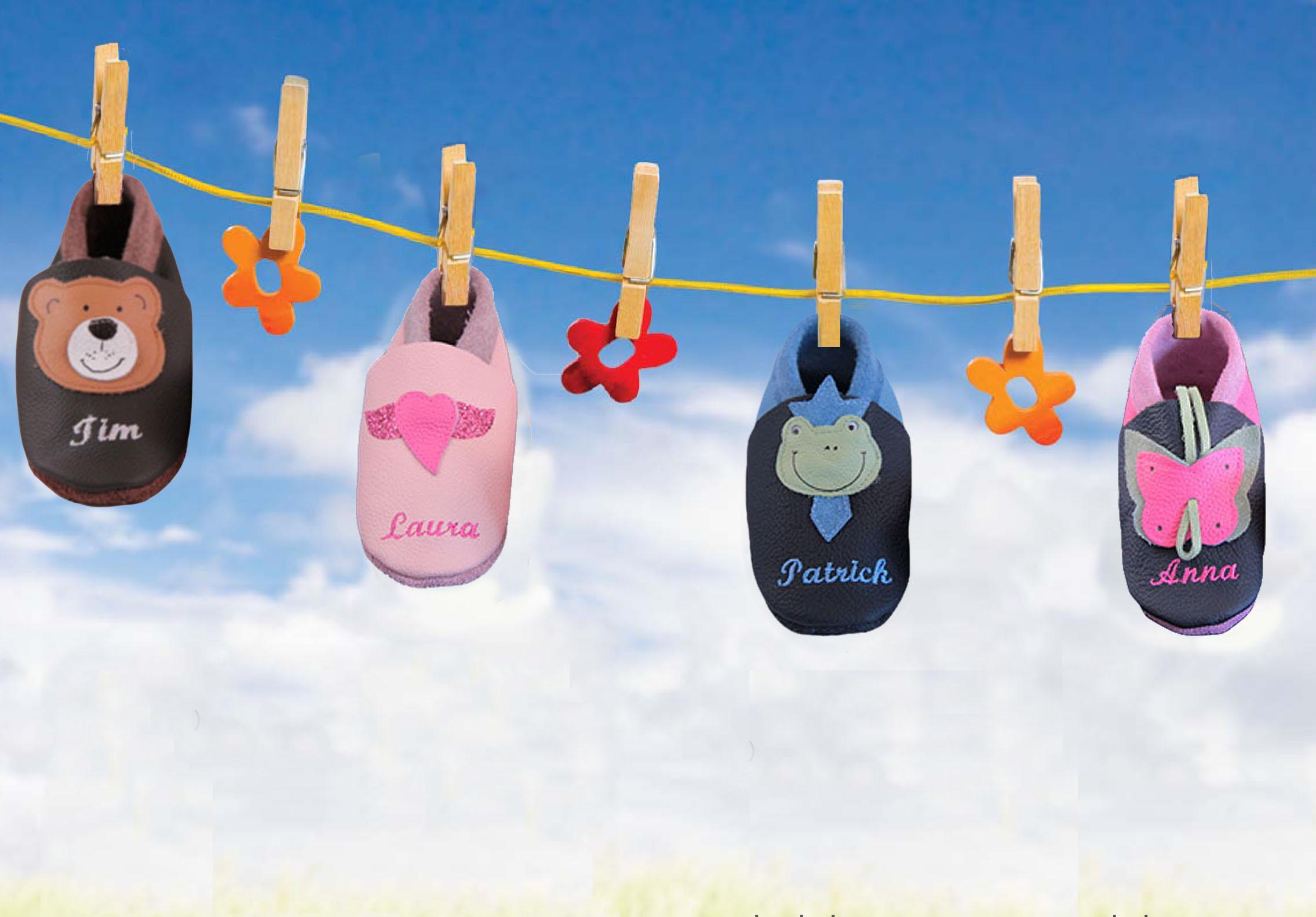 brand new 902e3 5d71e Krabbelschuhe - Lederpuschen für das Baby mit Namen bestickt